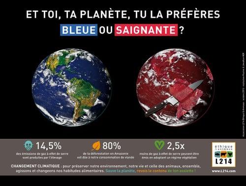 Affiche gagnante 'Et toi, ta planète, tu la préfères bleue ou saignante ?'