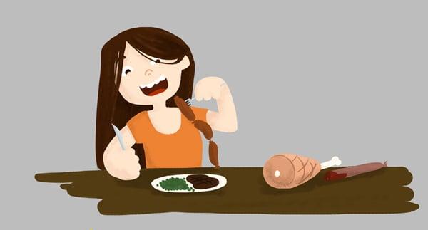 Dessin petite fille qui mange beaucoup de viande