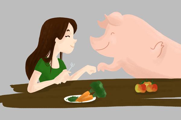 Dessin d'une fille à table avec un cochon et des légumes dans l'assiette