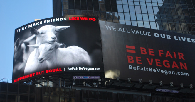 campagne d'affichage Be Fair Be Vegan, Times Square
