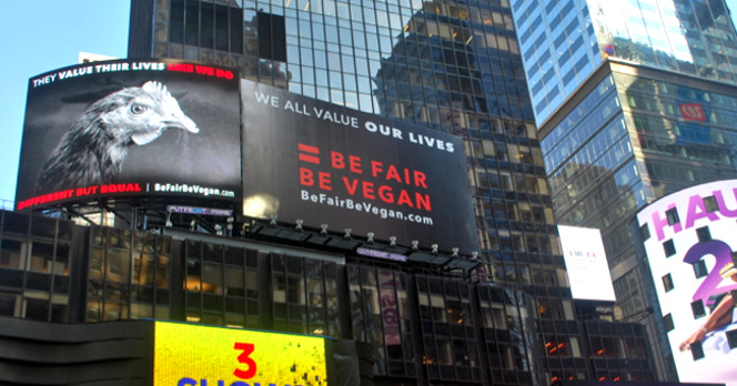 campagne d'affichage Be Fair Be Vegan, Times Square New York