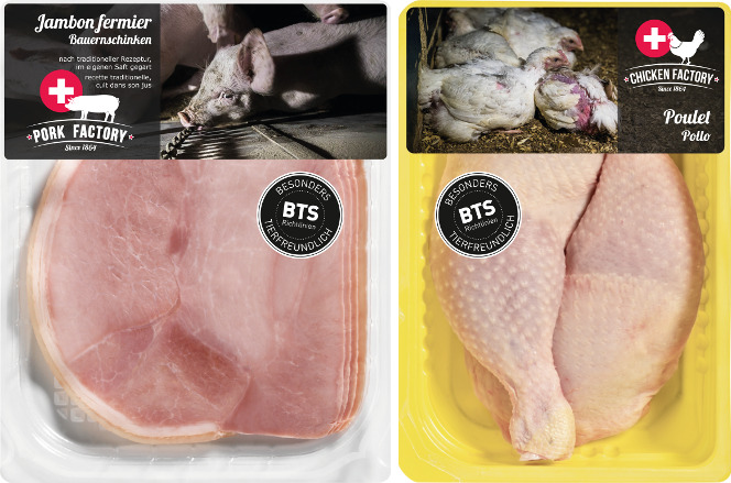 barquette de viande réaliste par l'association Tier Im Fokus