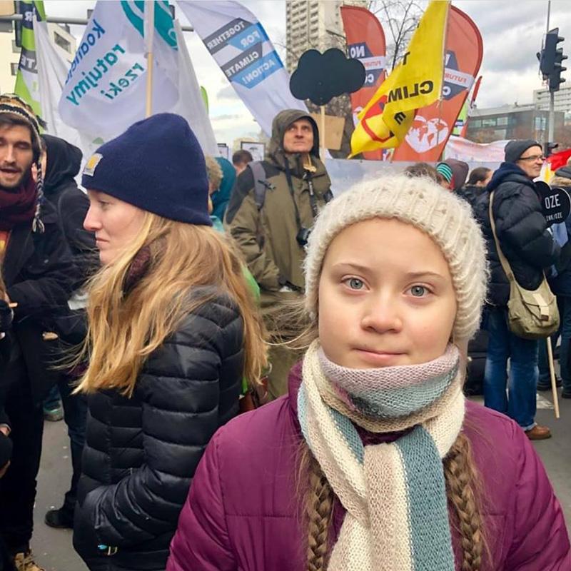 Greta à la manifestation pour le climat à Katowice, Pologne.