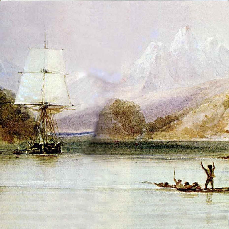 Le 'Beagle' en Terre de Feu / Peinture de Conrad Martens