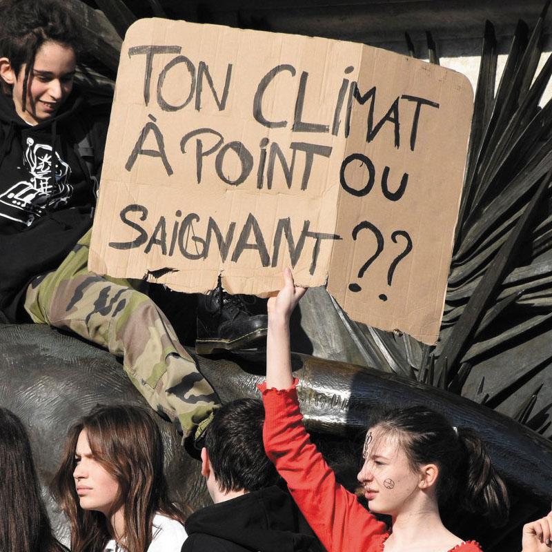 Certaine pancartes rappellent l'impact de la consommation de viande sur l'environnement.