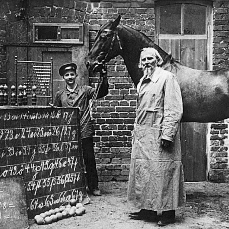 Le professeur Von Osten et son élève Hans.