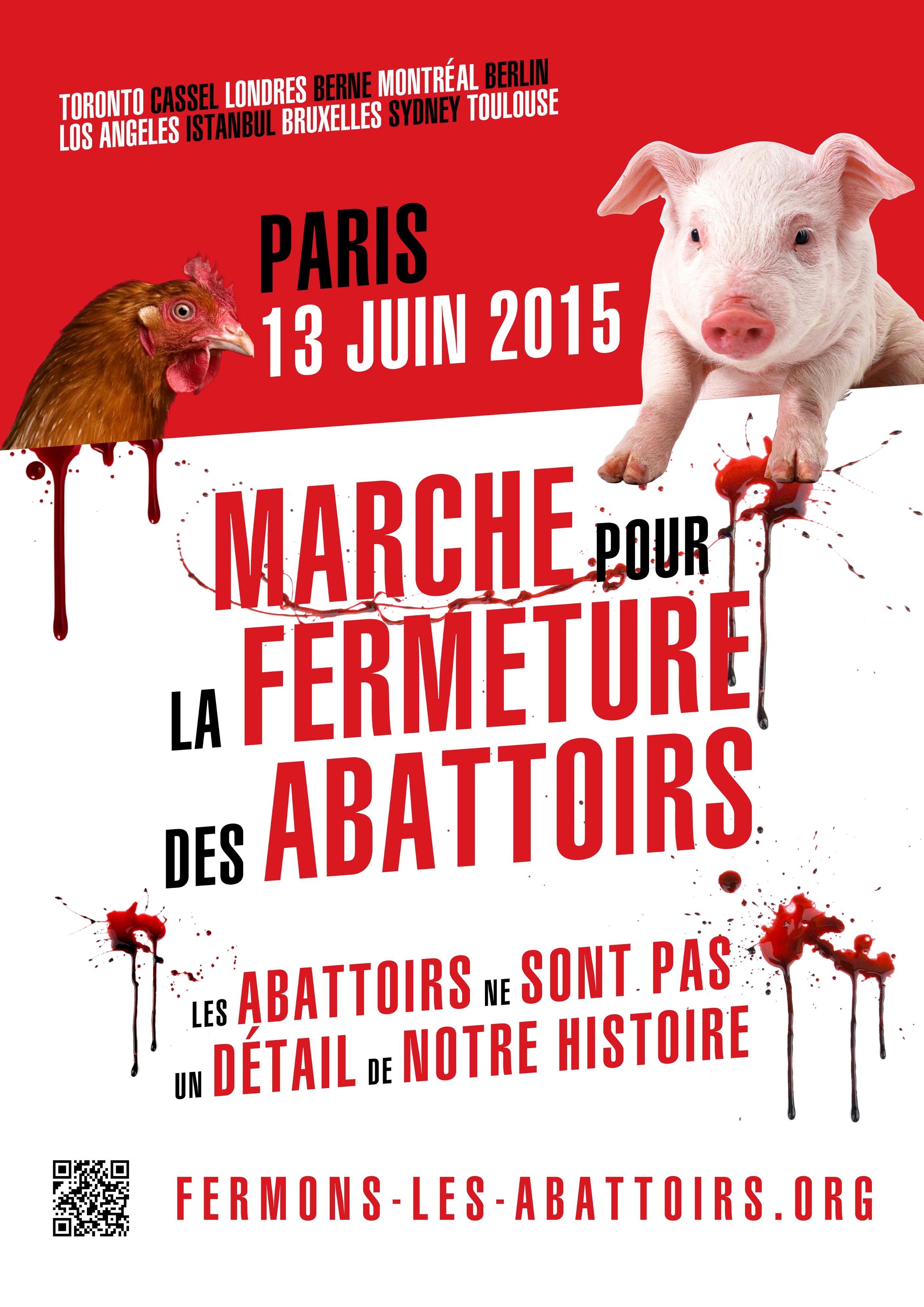 Affiche d'annonce de la Marche pour la fermeture des abattoirs à Paris