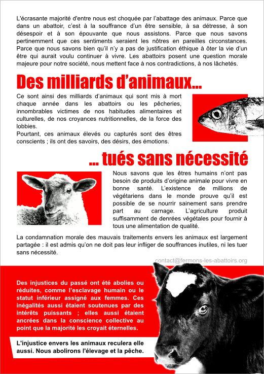Tract de la Marche pour la fermeture des abattoirs - verso