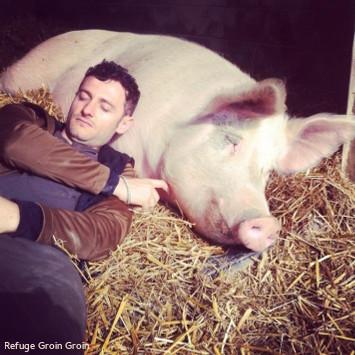 Homme avec un cochon