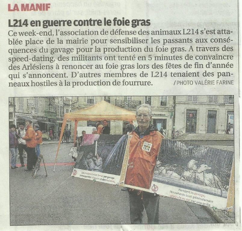 Coupure de presse La Provence sur l'action foie gras de L214