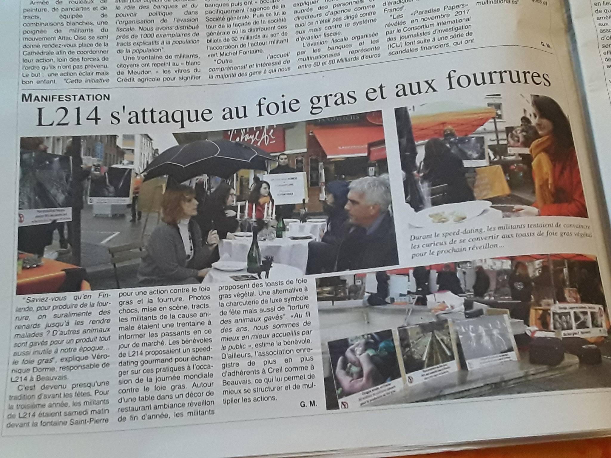 Coupure de presse action foie gras gras et fourrure