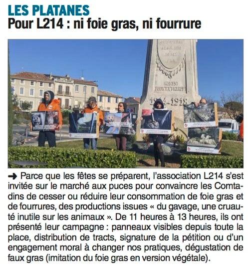 Coupure de Presse Vaucluse sur l'action de L214 sur le foie gras et la fourrure