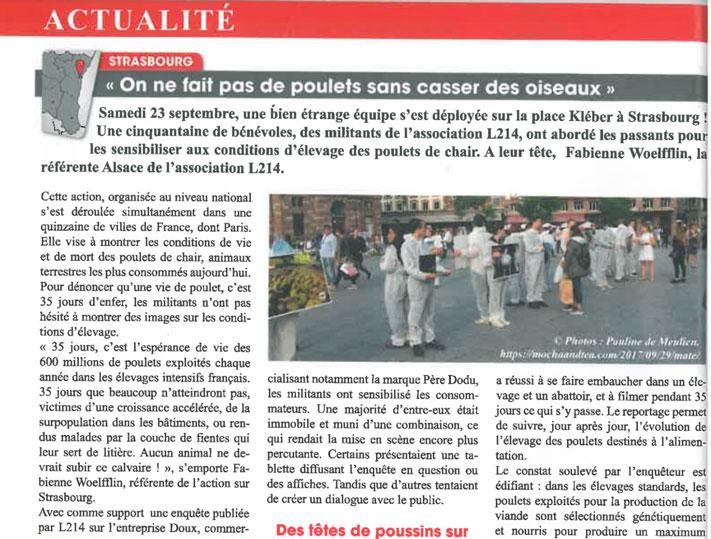 Article sur L214, magazine Tonic