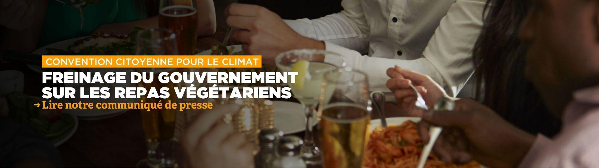 Projet de loi Convention citoyenne pour le climat : freinage sur les repas végétariens